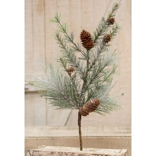 Icy Glittered Needle Pine Spray