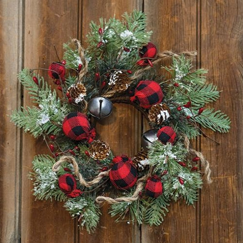 Buffalo Gingham Country Holiday Wreath 12""
