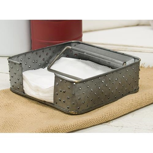 Galvanized Metal Grater Napkin Holder