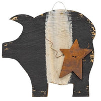 Hanging Black & White Pig w/Rusty Star 7""