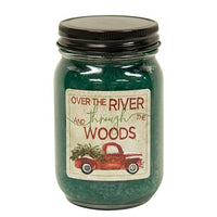 Balsam Fir Jar Candle w/Red Truck 12oz - Over the River