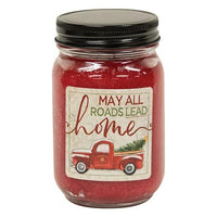 ^^Hollyberry Jar Candle w/Red Truck 12oz - All Roads Lead Home