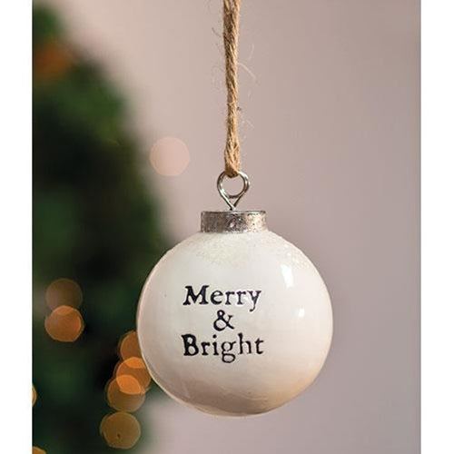 "White Ceramic Ornament ""Merry and Bright"""