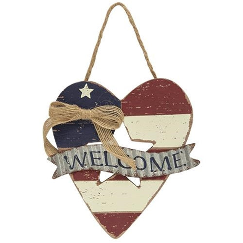 Wooden Heart Flag Welcome Ornament