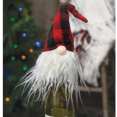 Red & Black Plaid Gnome Bottle Topper