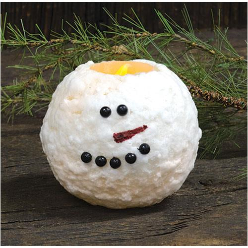 "4"" Snowman Round LED Candle"
