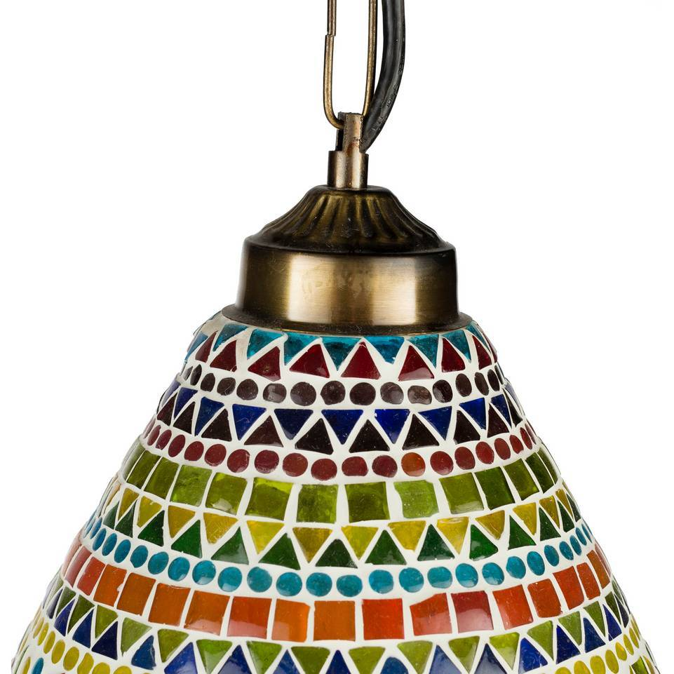Antique Brass Colorful Glass Mosaic Bell Pendant Light