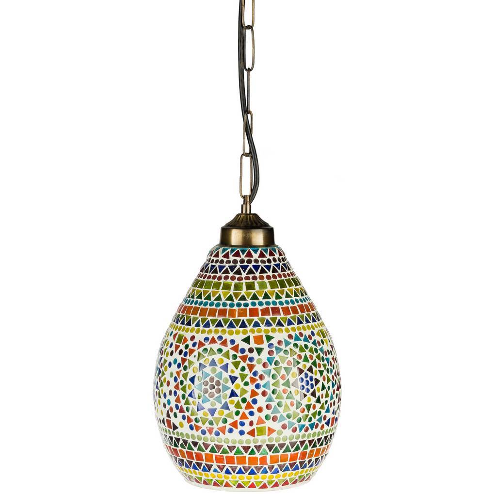 1-Light Antique Brass Colorful Glass Mosaic Bell Pendant