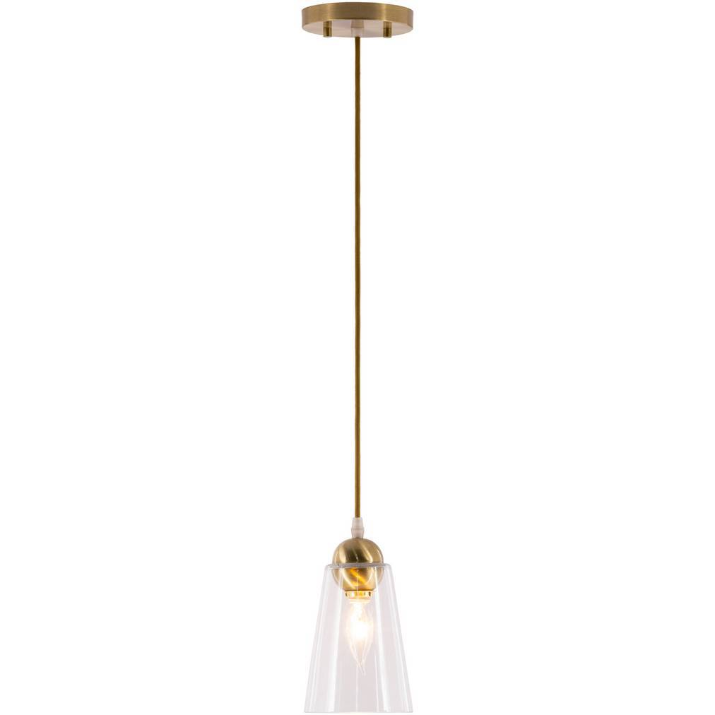 1-Light Antique Brushed Gold Clear Glass Tapered Pendant
