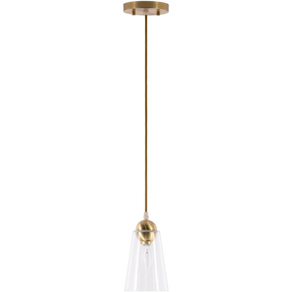 1-Light Vintage Brushed Gold Clear Glass Shade Cone Pendant