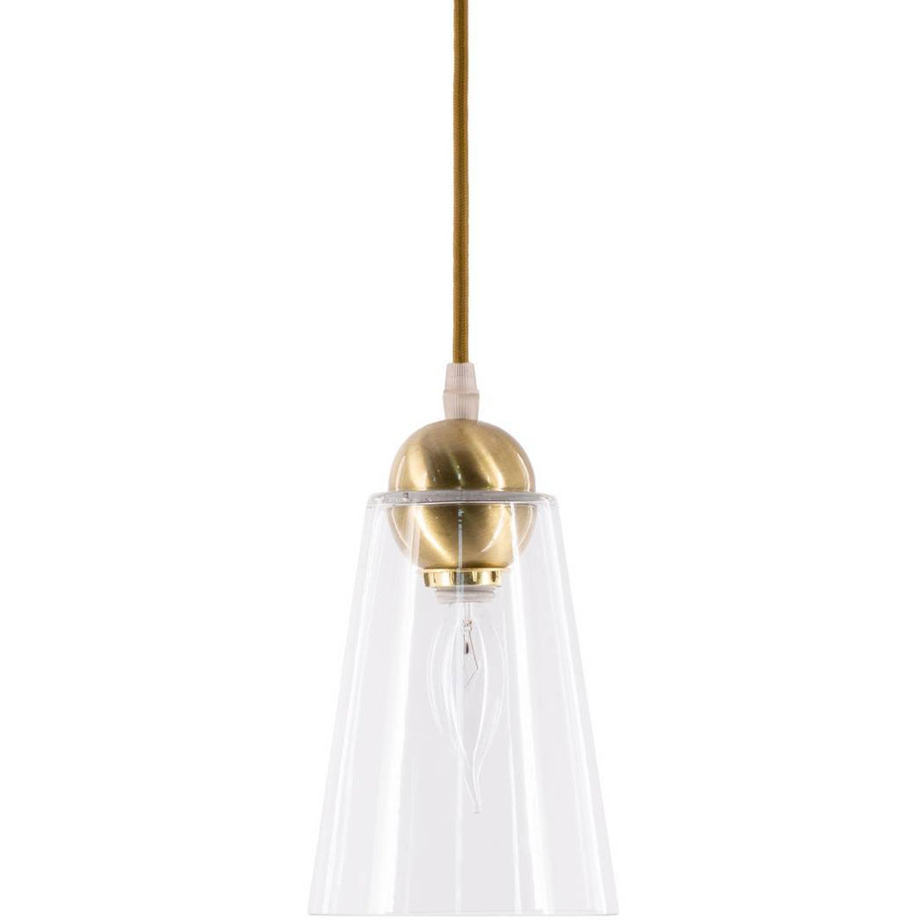 1-Light Antique Brushed Gold Clear Glass Shade Cone Pendant