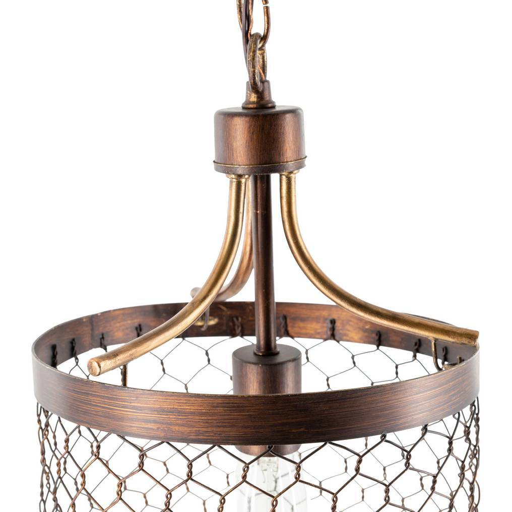 rusted brown cage bowl pendant light