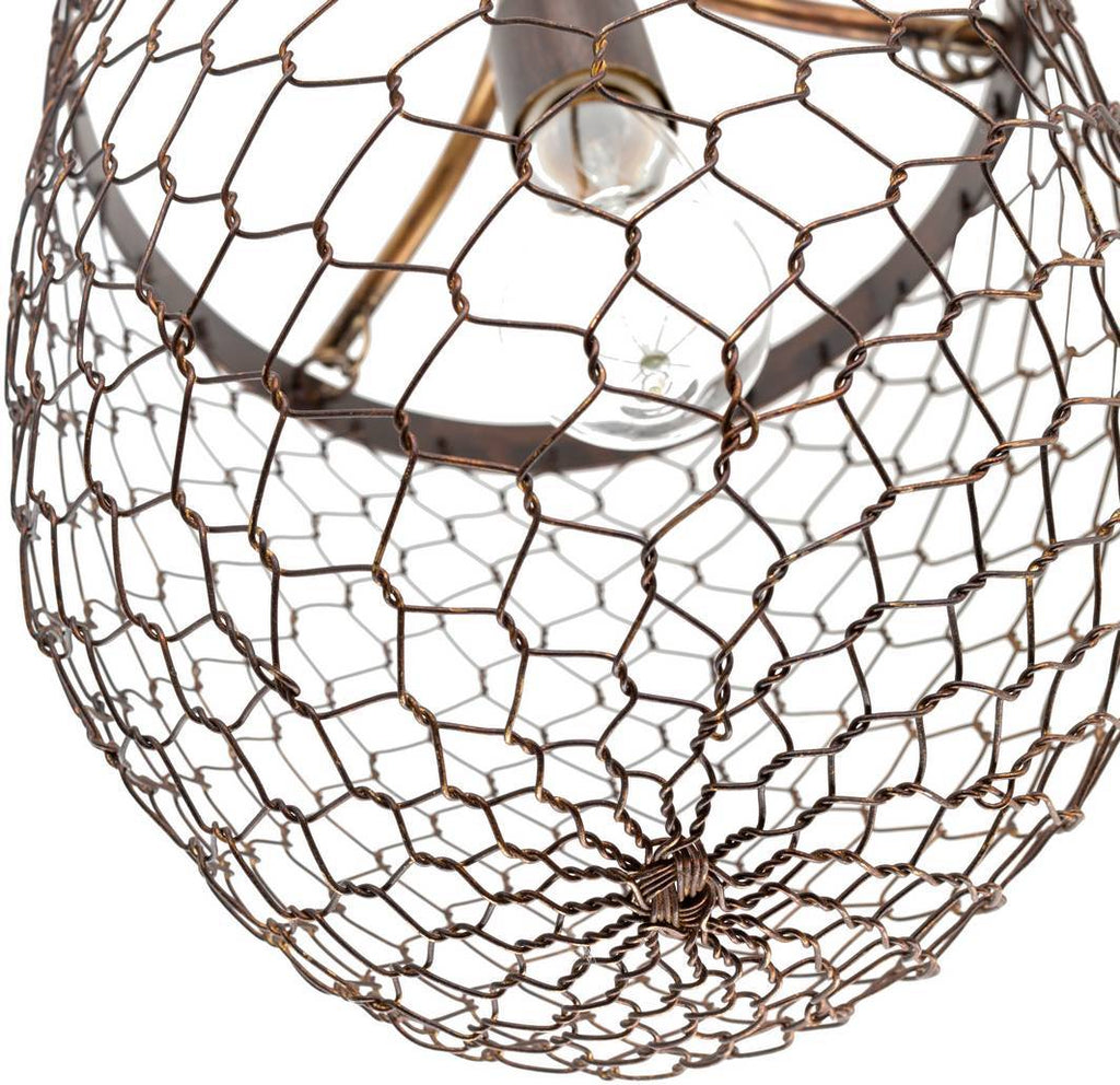 rustic farmhouse cage bowl pendant light