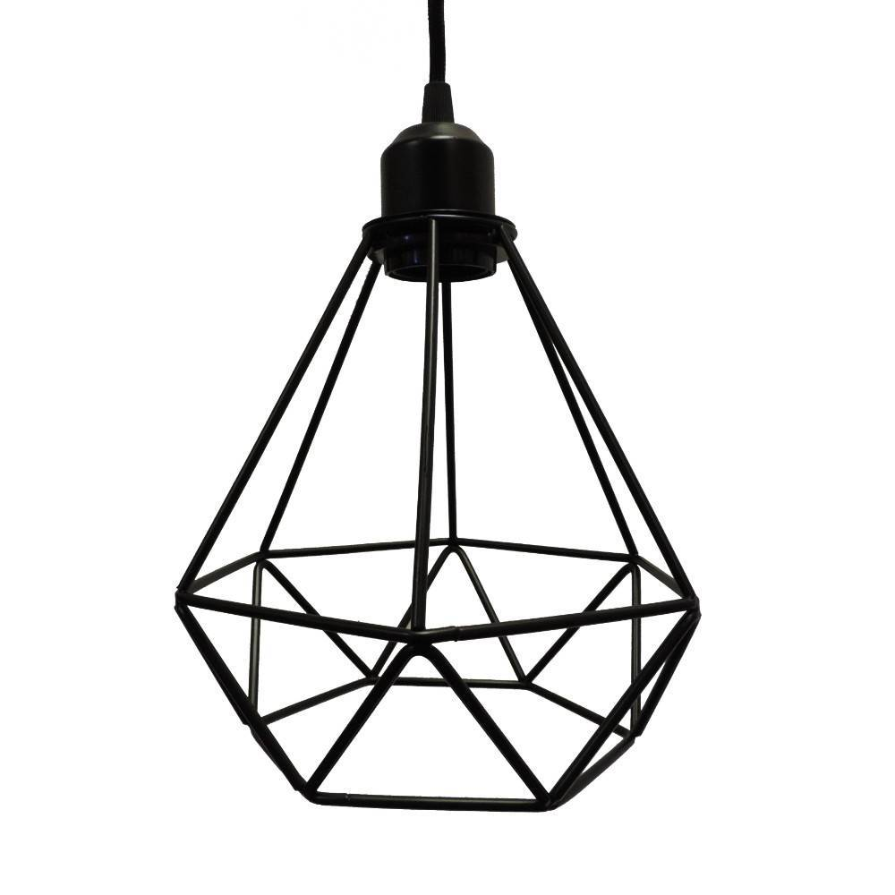1-Light Black Modern Industrial Metal Wire Cage Geometric Pendant