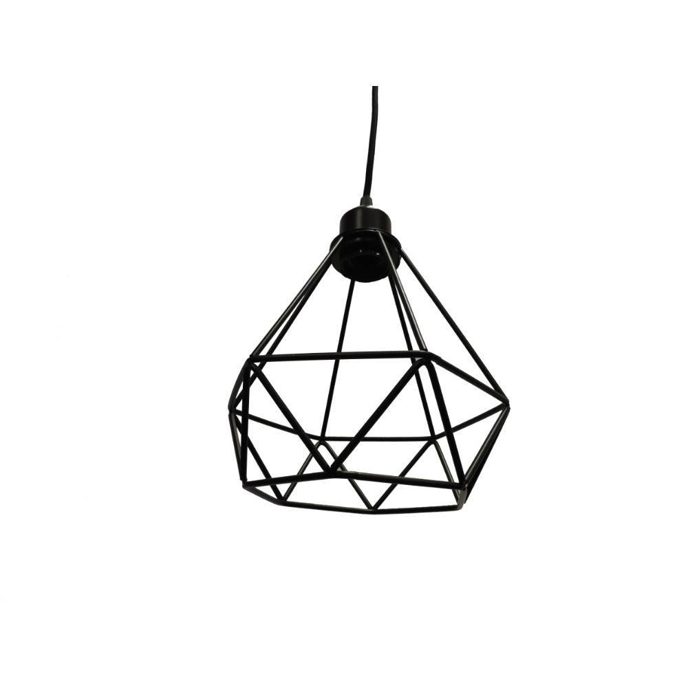 black modern industrial cage pendant light