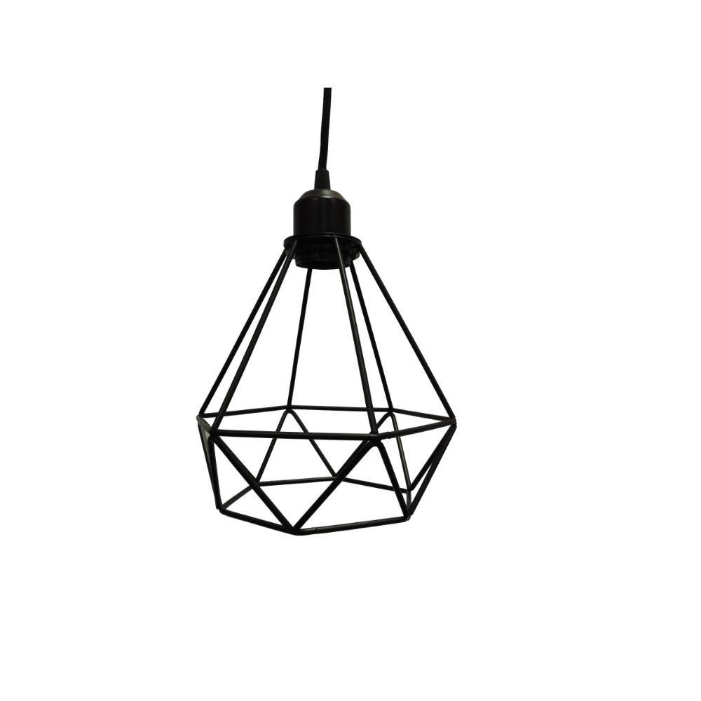 black geometric cage pendant light metal