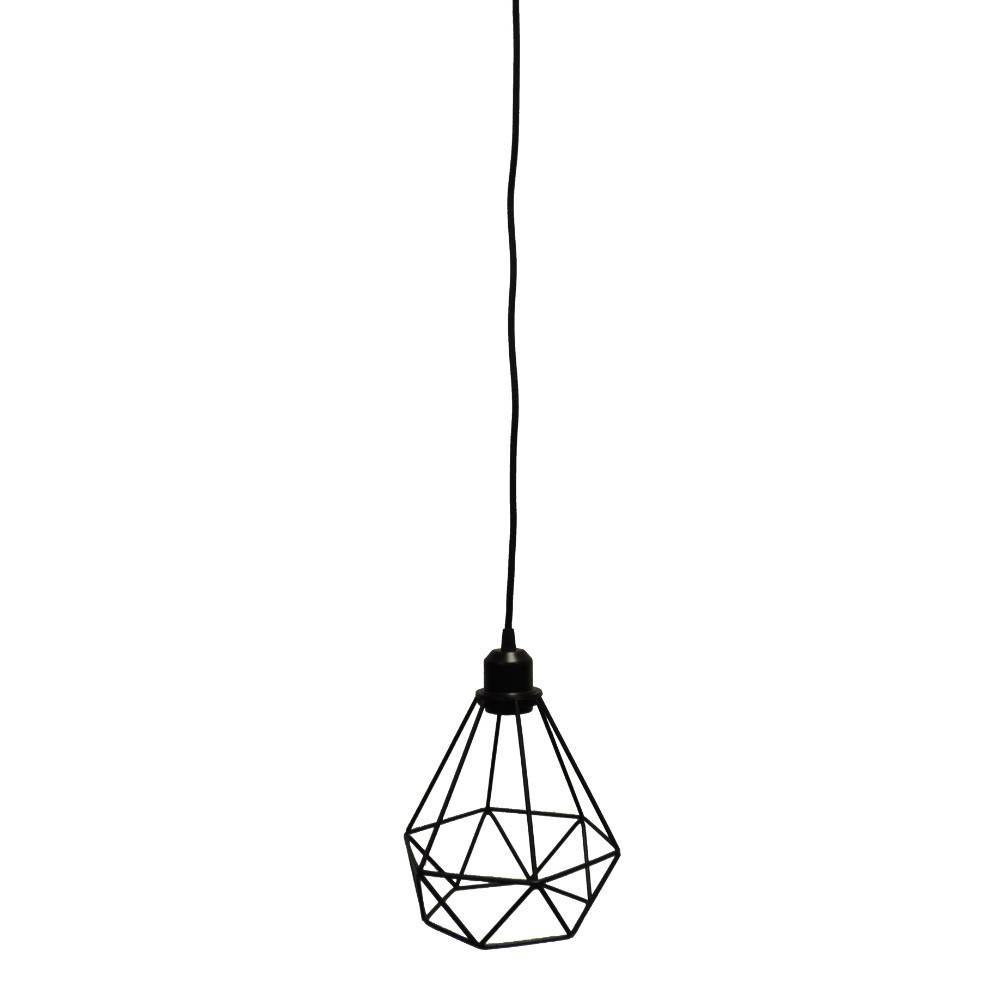black wire metal cage pendant light