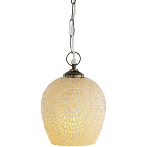 1-Light Brass Antique Finished Glass Orb Pendant