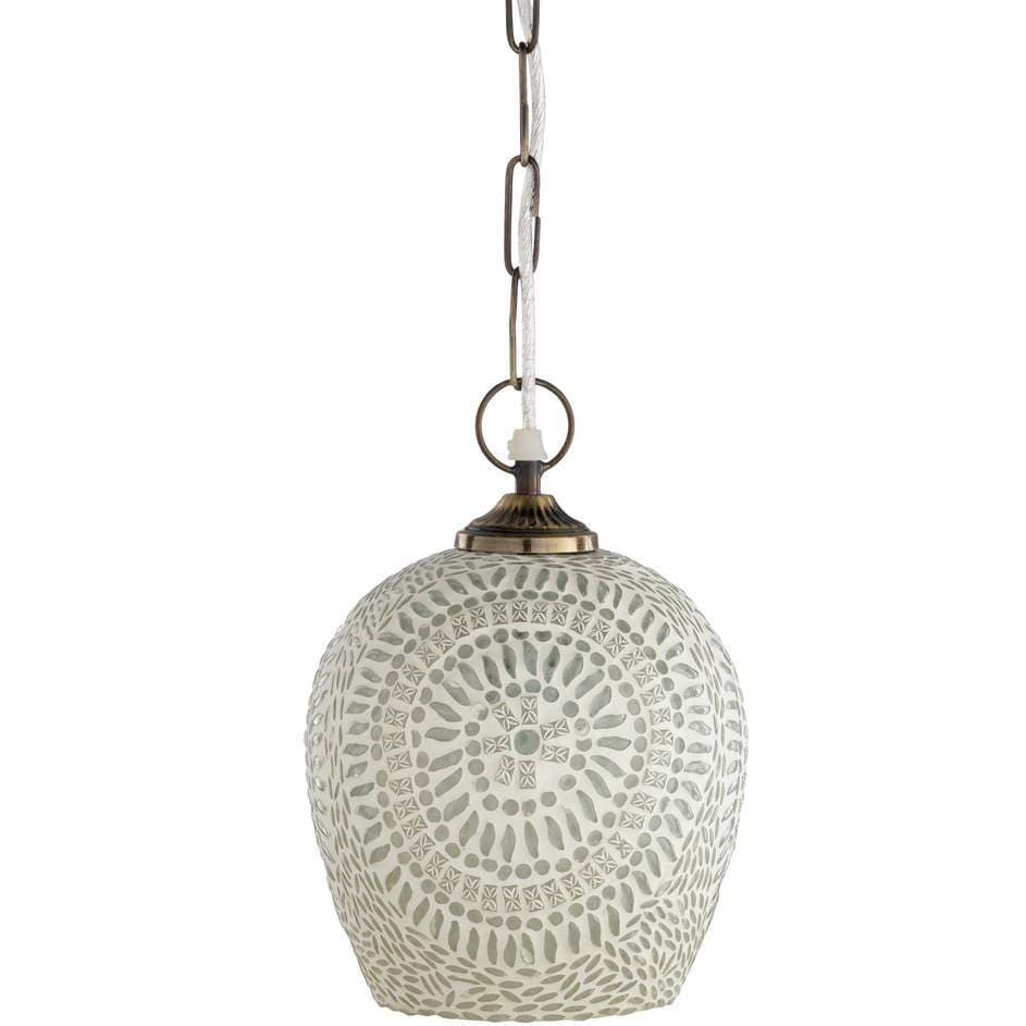 1-Light Brass Antique Finished Glass Dome Pendant