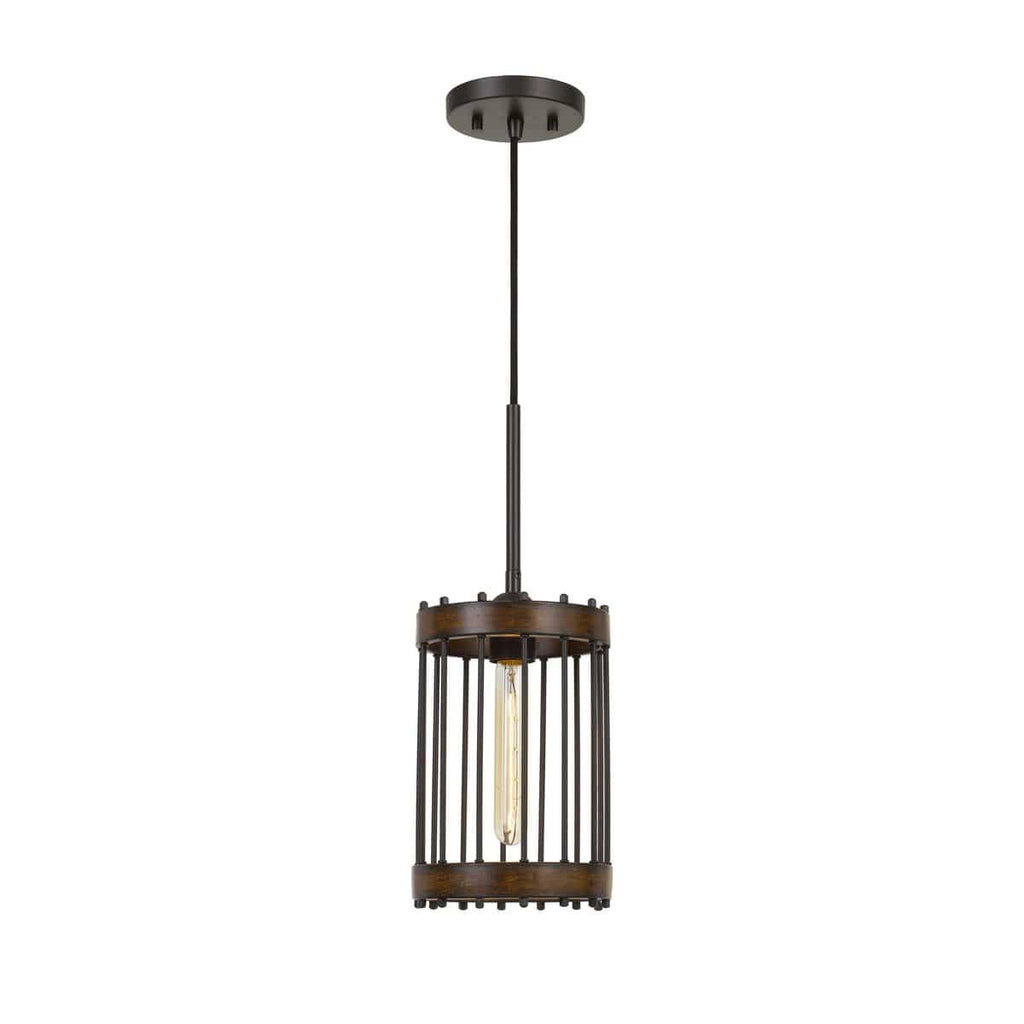 1-Light Contemporary Wood & Black Metal Cylinder Cage Pendant
