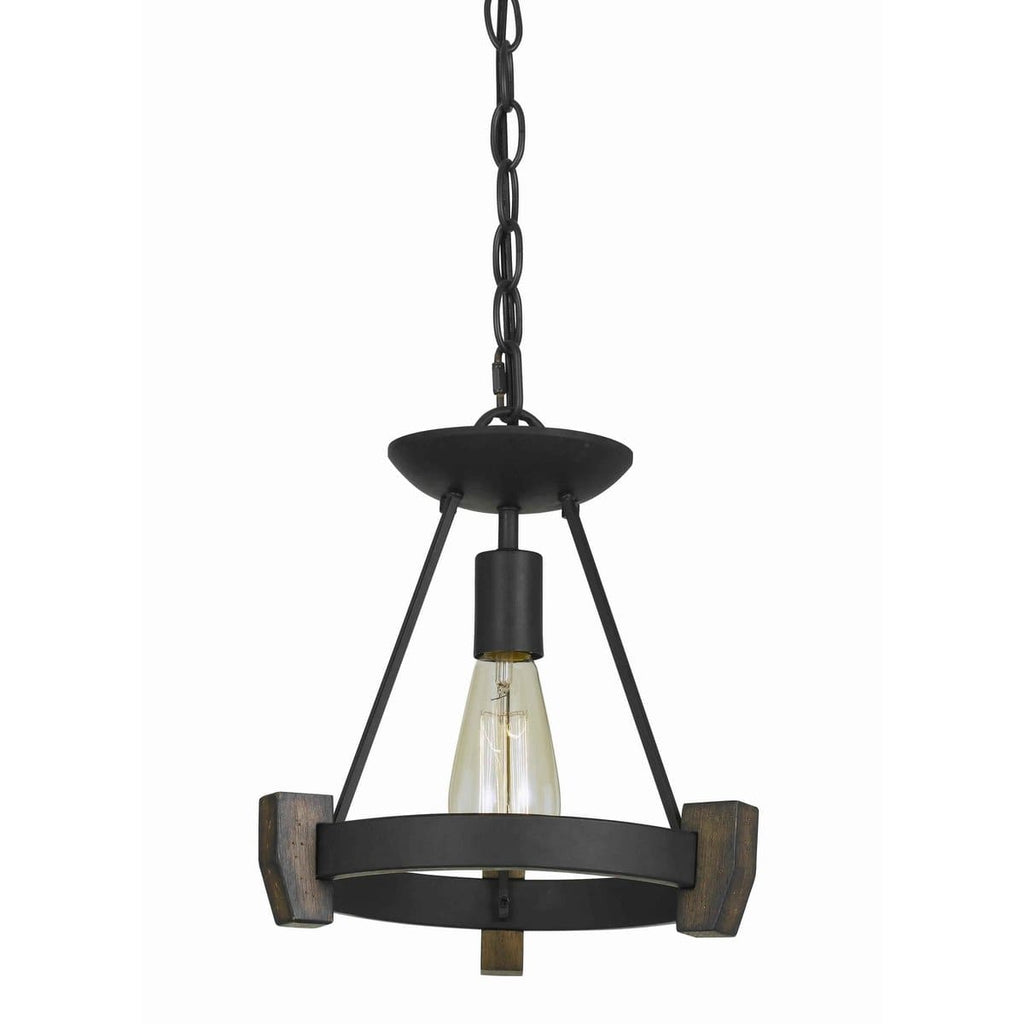 1-Light Contemporary Wood & Black Metal Triangle Pendant