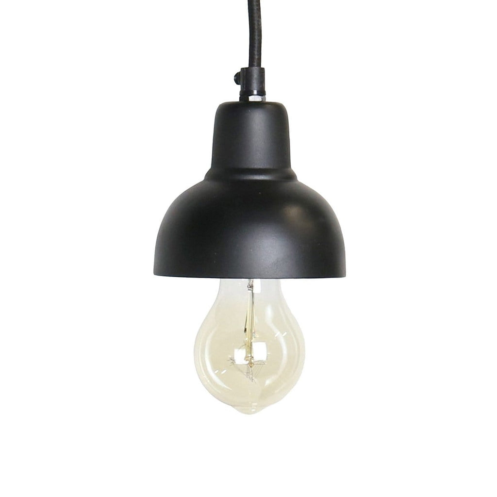 1-Light Industrial Half Dome Black Mini Pendant