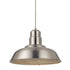 1-Light Industrial Quarter Dome Brushed Nickel Pendant