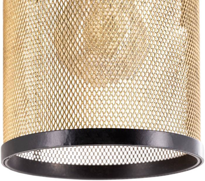 gold mesh cage drum sconce