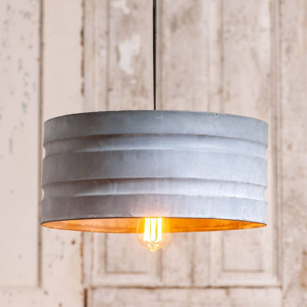 1-Light Large Farmhouse Country Distressed Metal Drum Pendant