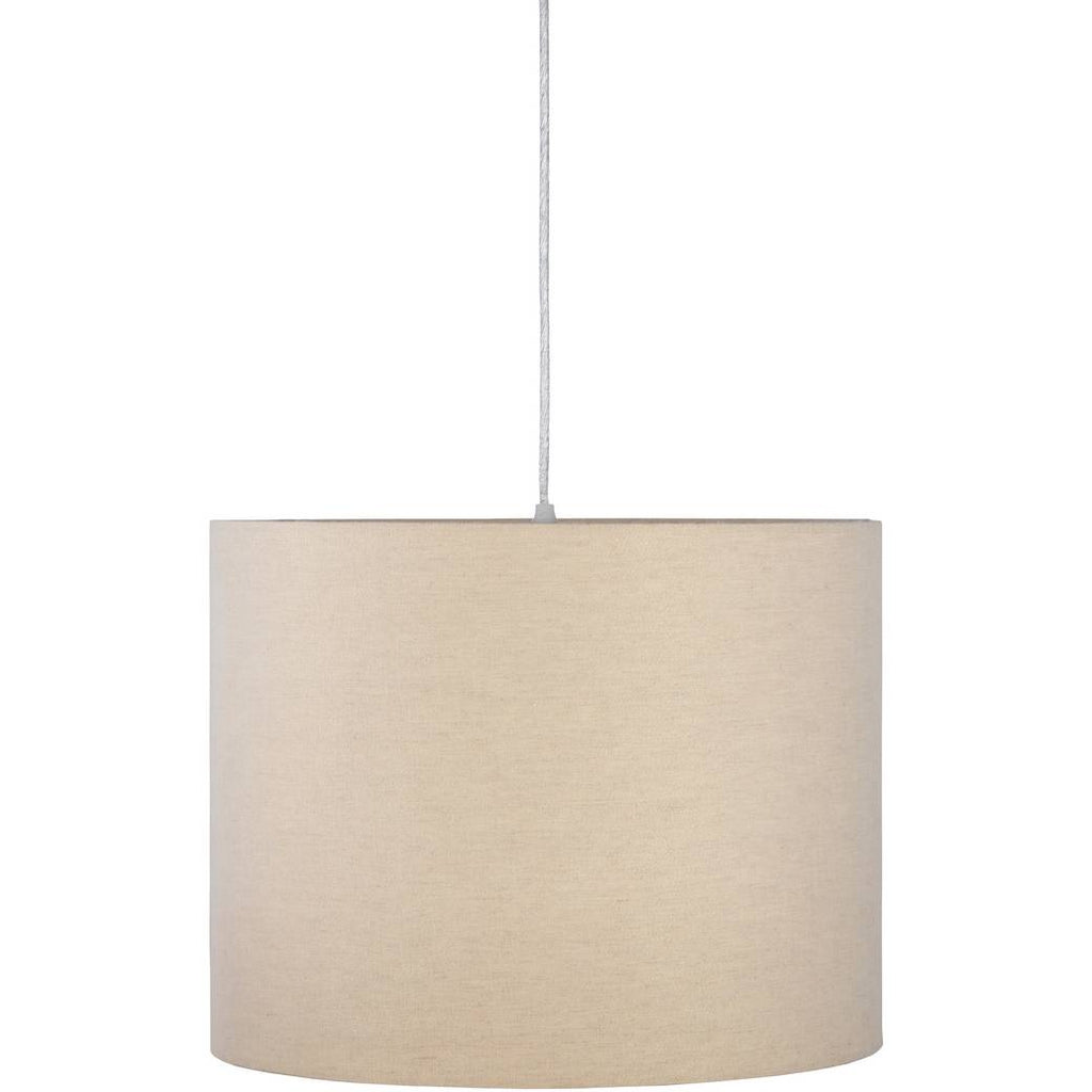 1-Light Large Off White Cotton Fabric Shade Drum Pendant