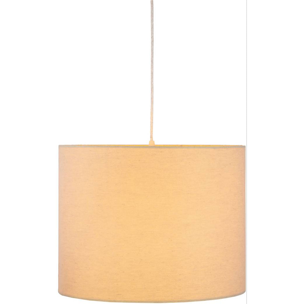 1-Light Large Off Cream Cotton Fabric Shade Drum Pendant