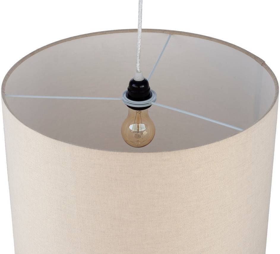 cream cotton shade drum pendant light