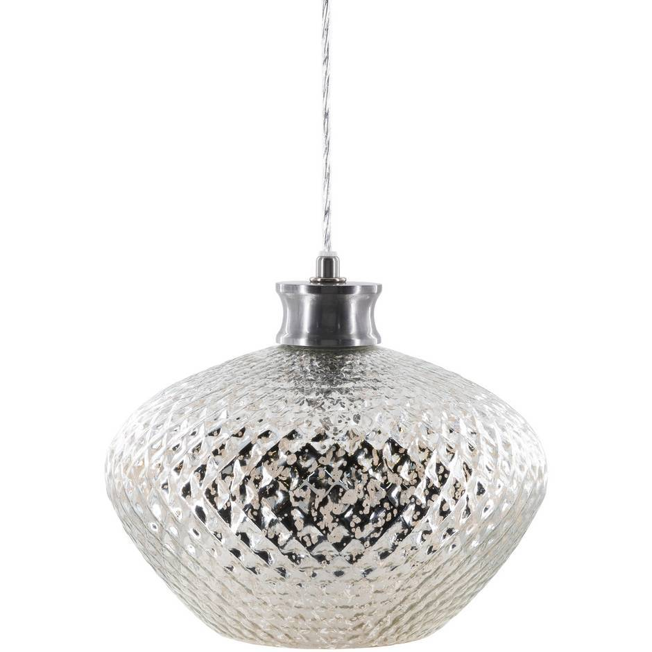 1-Light Large White Antique Polished Glass Dome Pendant