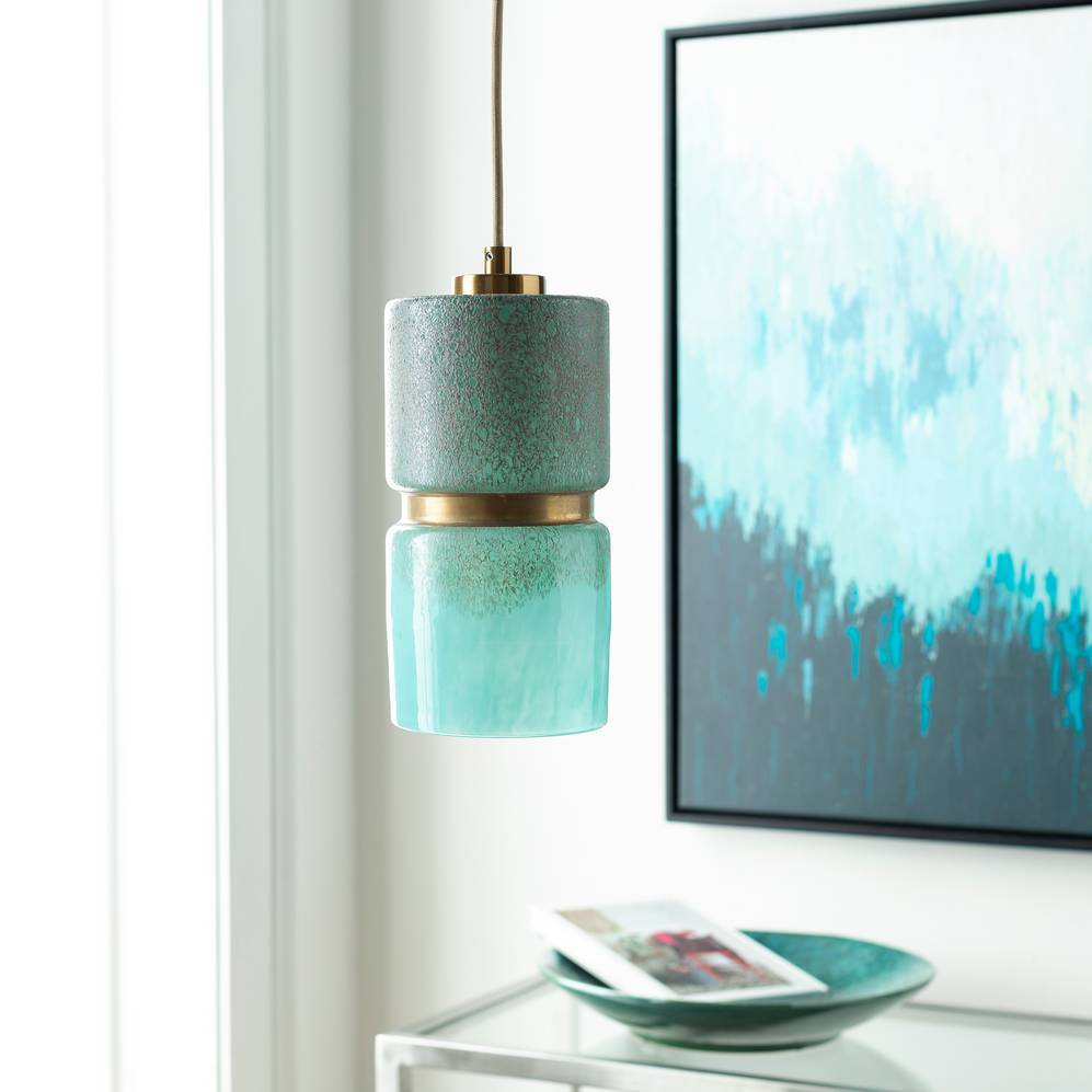 1-Light Modern Brass & Aqua Blue Glass Mini Cylinder Pendant