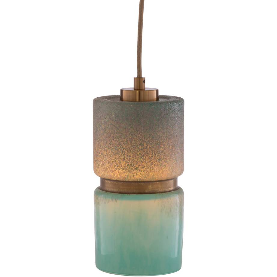 Modern Brass & Teal Blue Glass Mini Cylinder Pendant Light