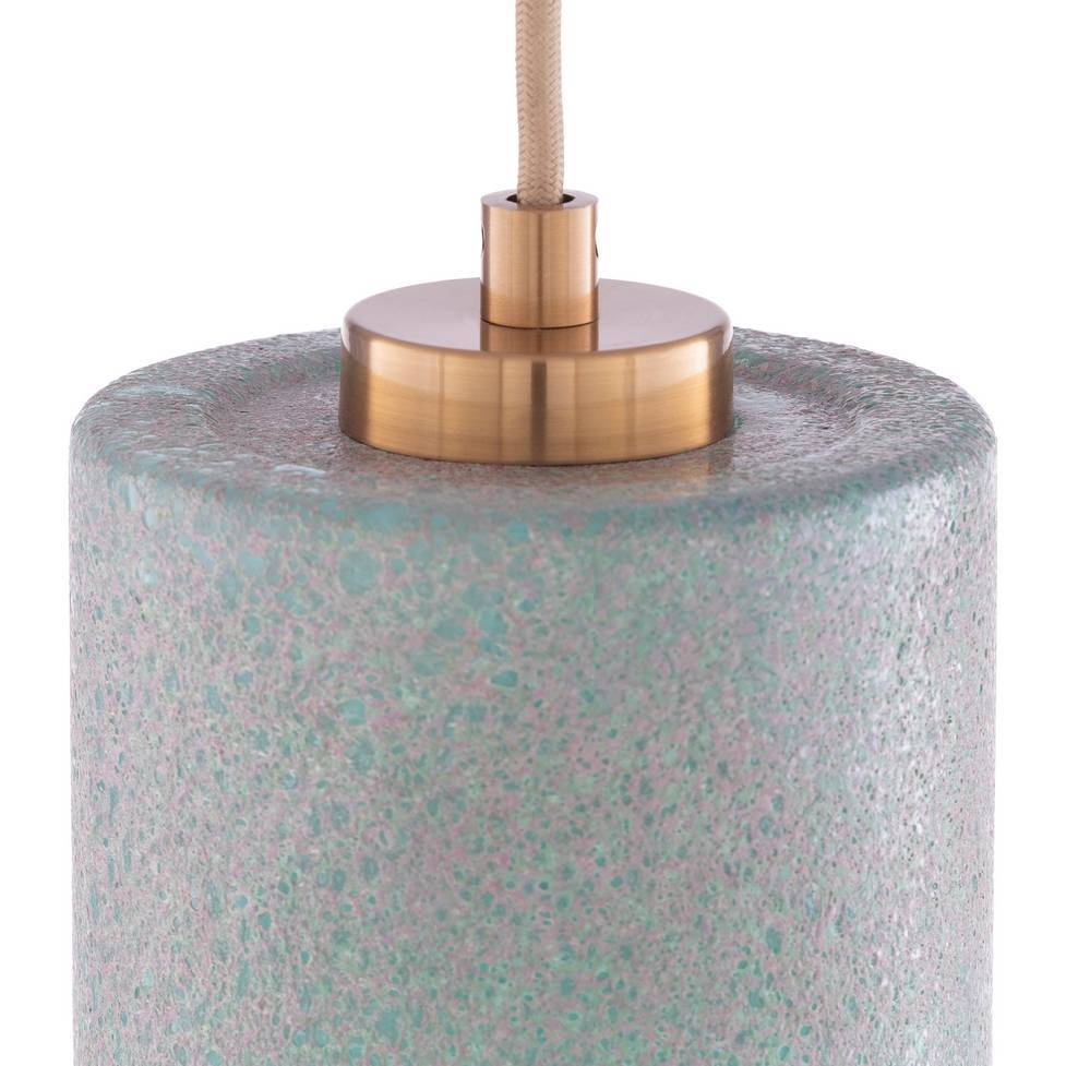 Modern Brass & Aqua Blue Glass Mini Tube Pendant Light