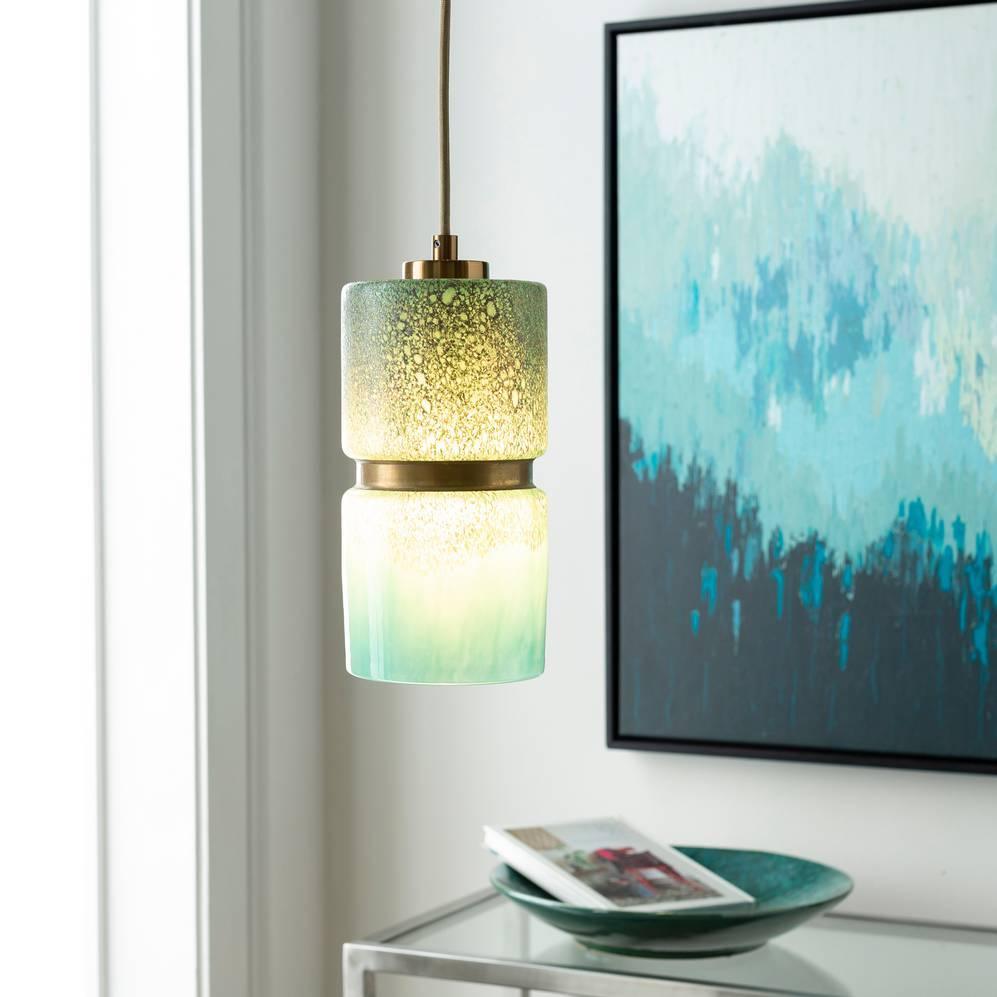Modern Brass & Aqua Blue Glass Mini Cylinder Pendant Light