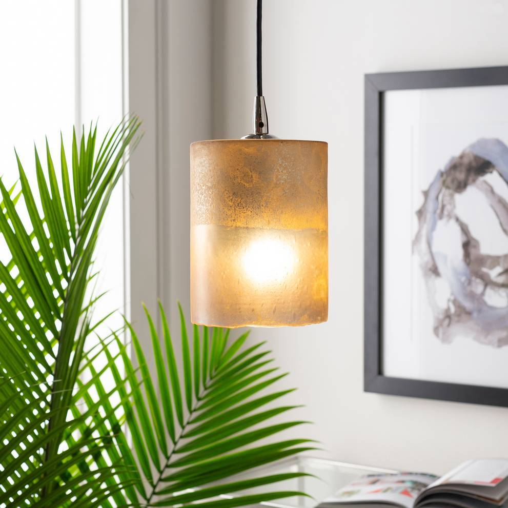 Modern Nickel & Frosted Glass Mini Cylinder Pendant Light
