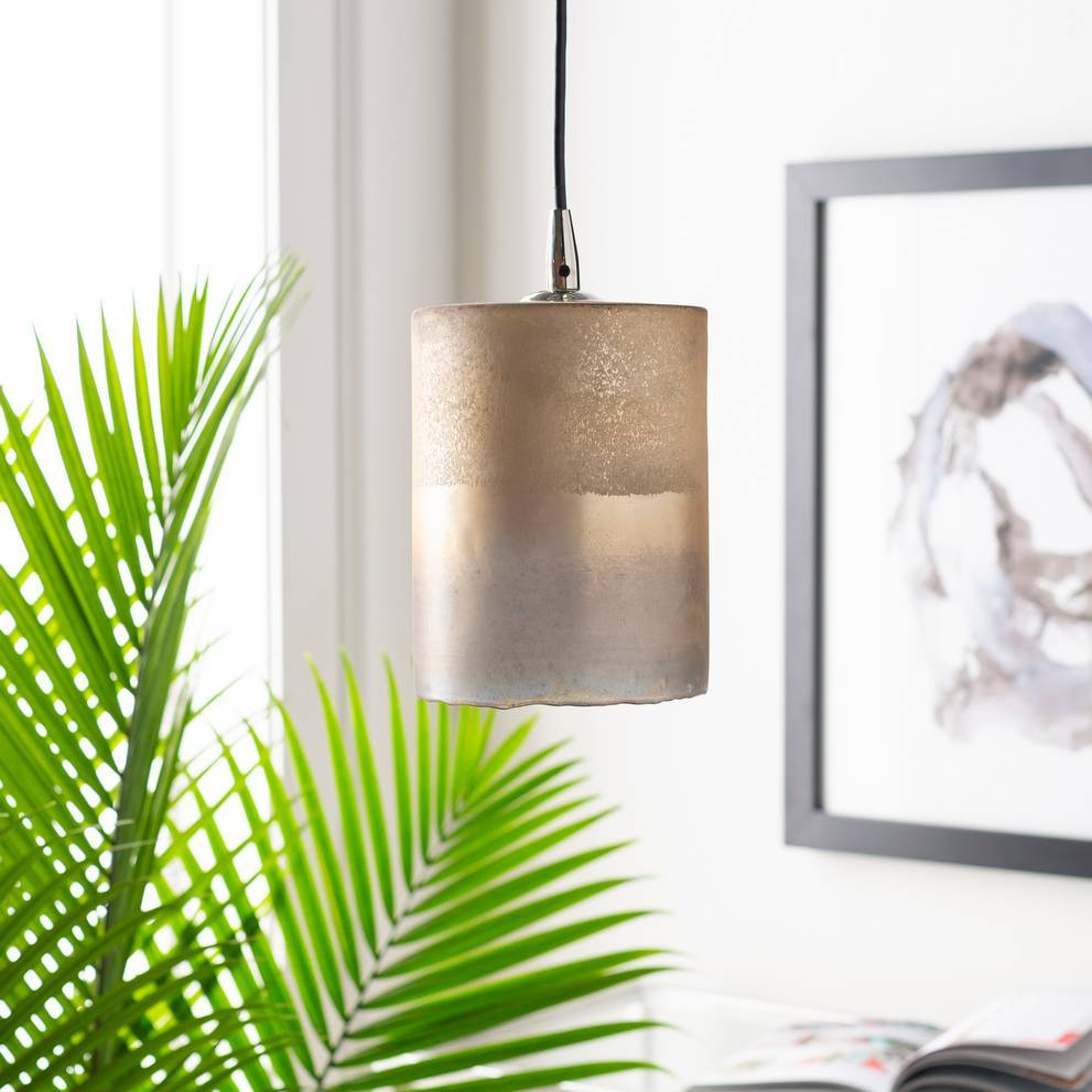 1-Light Modern Nickel & Frosted Glass Mini Cylinder Pendant