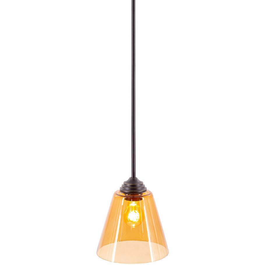 amber tinted glass shade pendant light