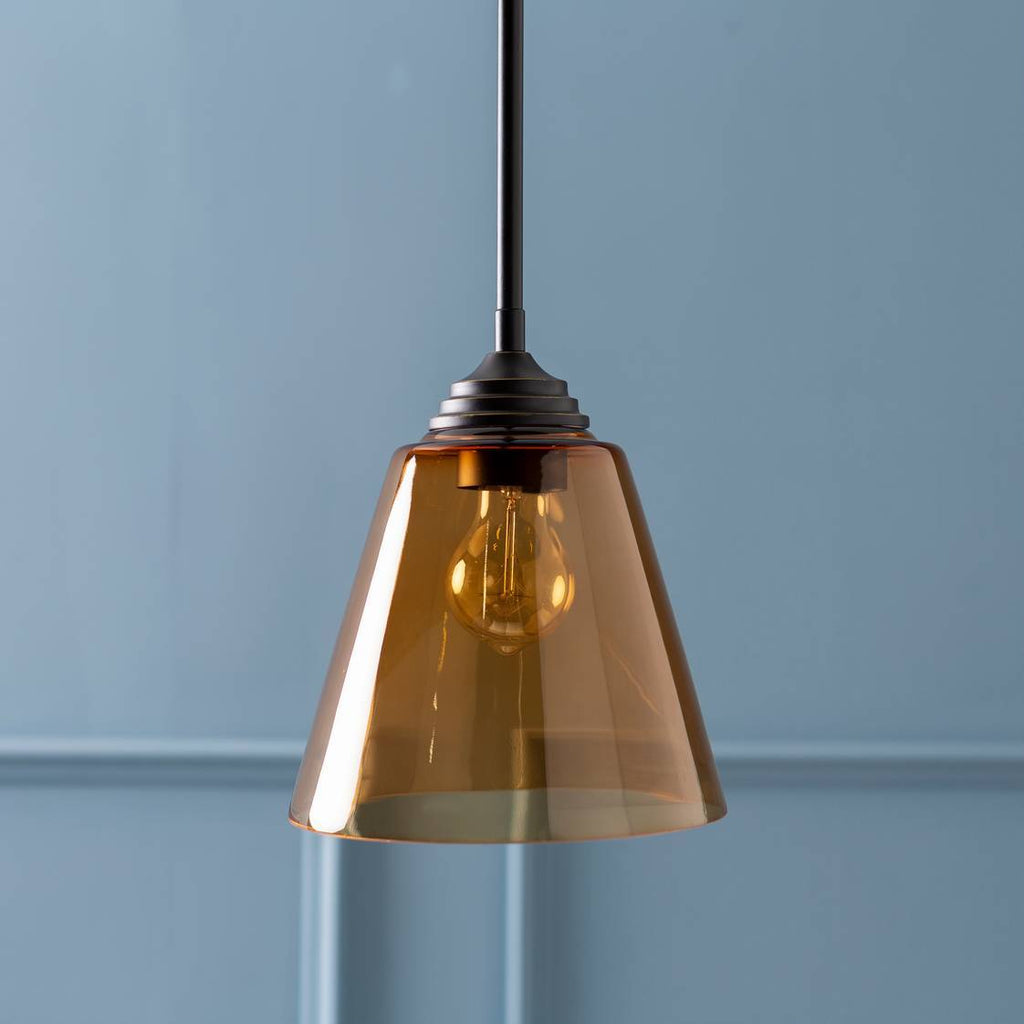 1-Light Modern Nordic Amber Tinted Glass Cone Pendant