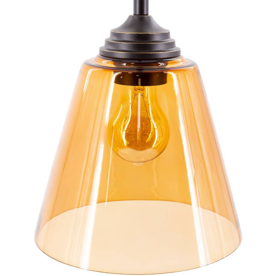 amber tinted glass shade cone pendant light