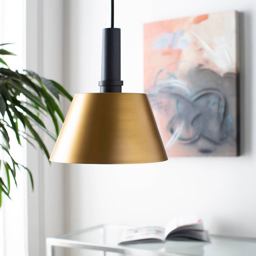 1-Light Modern Nordic Black Accented Brass Cone Pendant