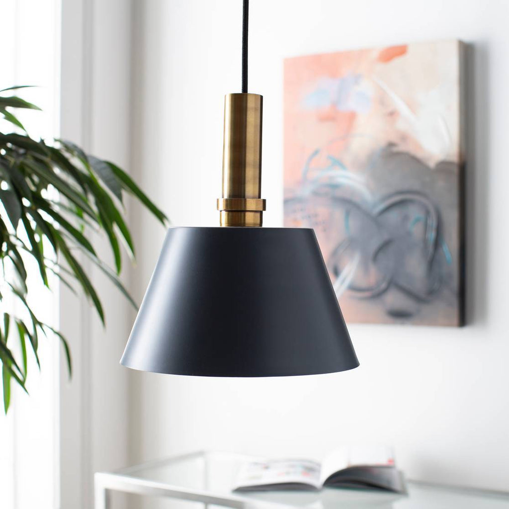 1-Light Modern Nordic Brass Accented Black Cone Pendant