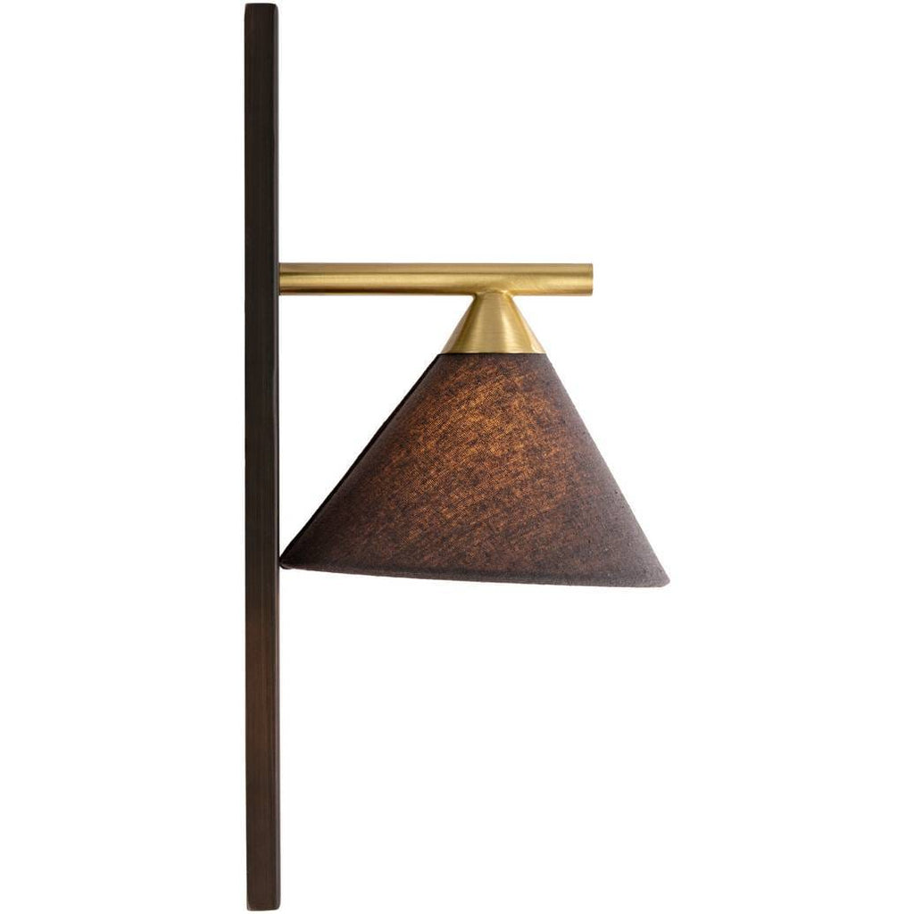 fixed gold arm black fabric shade nordic cone sconce