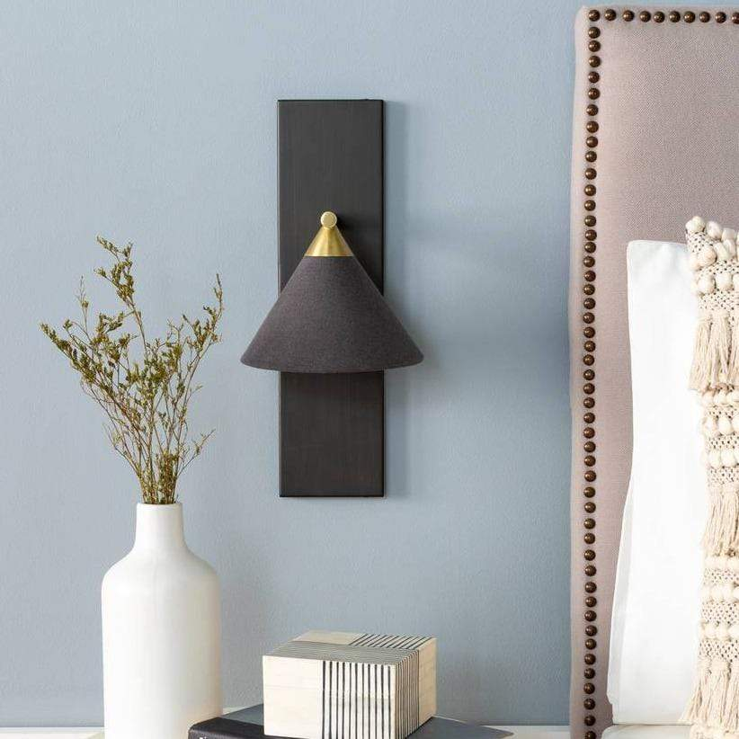 1-Light Modern Nordic Metal Black & Brass Cone Sconce
