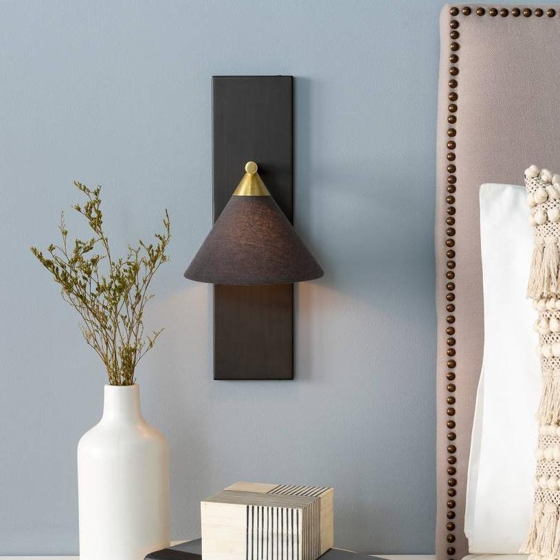 1-Light Nordic Contemporary Metal Black & Brass Cone Sconce