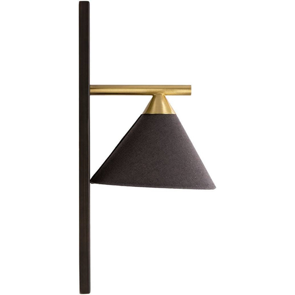 armed gold and black modern nordic sconce
