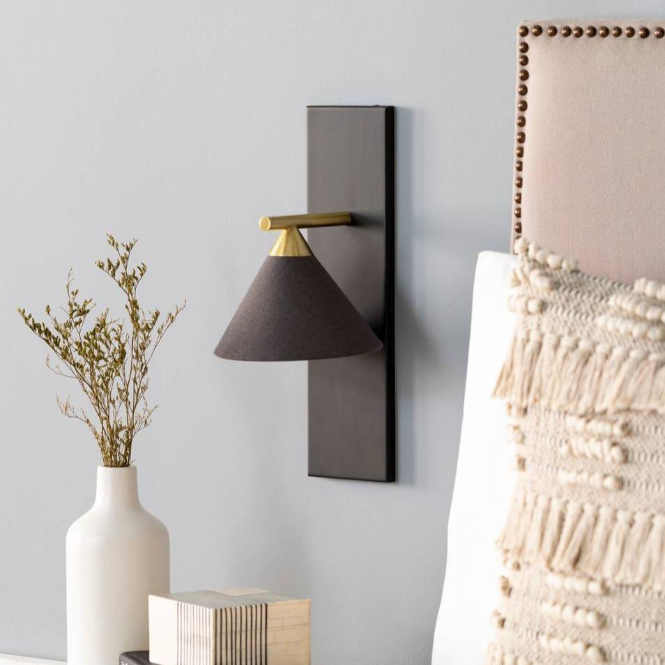 nordic contemporary fixed arm black and gold sconce