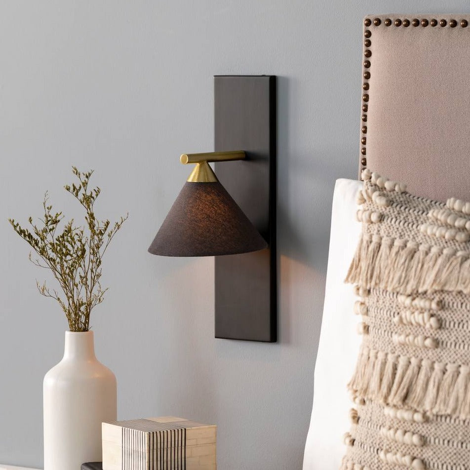 modern nordic single arm gold and black cone wall sconce
